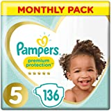 Pampers Premium Protection, Monthly Saving Pack, Soft Comfort, Approved by British Skin Foundation, Size 5, 136 Nappies, 11-16 kg