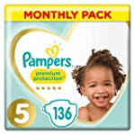 Pampers Premium Protection, Monthly Saving Pack, Soft Comfort, Approved by British Skin Foundation, Size 5, 136 Nappies...