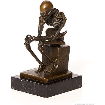 Bronze nach Rodin Skelett Gerippe Denker Bronzefigur Bronzeskulptur Anatomie
