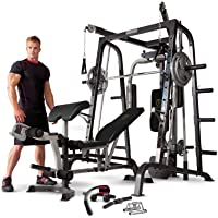 Marcy MD-9010G Home Gym Smith Machine Black - Removable Weight Bench | Linear Ball Bearings | 272kg Weight Load by Marcy