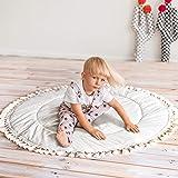 Boho Teepee lekmatta – lekmatta för bebis för golv med tofsdekor – bred babygymmatta – 100 % bomull och allergivänlig fyllnin