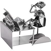 BRUBAKER Screw Man Pc Office Worker With Business Card Holder - Handmade Steel Figure Metal Man - Gift For Businessmen…