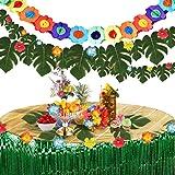 Pajaver 60 Pcs Hawaiian Tropical Party Decorations Set, Hawaiian 2 Pcs Table Skirt, 3M Flowers Banners, 30 Pcs Palm Leaves, 2