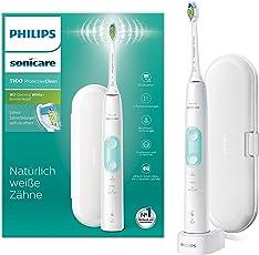 Philips Sonicare ProtectiveClean 5100 elektrische Zahnbürste HX6857/28 – Schallzahnbürste mit 3 Putzprogrammen, Andruckkontrolle, Timer & Reise-Etui – Weiß