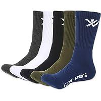 YUEVO SPORTS Mens Athletic Socks Thick Terry Cushion Crew Socks Trekking Walking Sports Socks Breathable Wicking Warm…