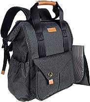HapTim Baby Diaper Bag Backpack W/Stroller Straps- Multi-function Designer diaper bags Large Capacity, Insulated Pockets,Changing Pad, Waterproof (AE-Dark Gray5279)