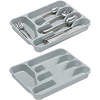 Relaxdays range-couverts, lot de 2, cinq compartiments, pour les ustensiles de cuisine, plastique, 4 x 25 x 33 cm, gris