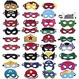 Yidaxing 35 Piezas Máscaras de Superhéroe, Máscaras de Fieltro Mitad Máscara de Cosplay con Cuerda Elástica Máscaras de Ojos