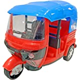 Popsugar Bump and Go Auto Rickshaw with Flashing Lights Toy for Boys and Girls, Blue