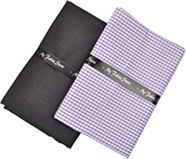 My Fabric Store Men's Unstitched Executive Shirt and Trouser Fabric Multicolour_2.20m and 1.3m(Pack of 2)