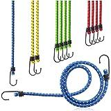 COM-FOUR® 12-delige set rubberen spanner - bagagespanner in vier maten - expander met haak - spanrubber om de lading vast te