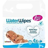 Lingettes bébé pour peaux sensibles WaterWipes, 4 Paquets de 60 (240 Lingettes)