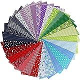 aufodara Lot de 30pcs Patchwork Coton Tissu DIY Fait à la Main en Tissu à Coudre Quilting Designs Différents 25 x 25 cm (Roug