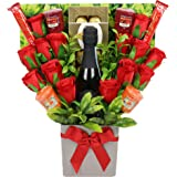 The Yankee Candle, Red Rose & Chocolate Bouquet with a Bottle of Vino Spumante Sparkling Wine 20cl (10.5% ABV), containing Li