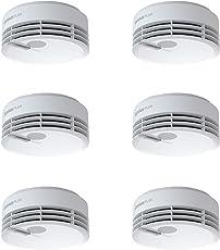 Hekatron Rauchmelder Genius PLUS – Rauchwarnmelder mit integrierter Batterie (10 Jahre Lebensdauer) – Inkl. 6 x Klebepad, App-unterstützt – Weiß, 6er Set