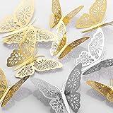MWOOT 48 piezas mariposas decorativas 3d, mariposas pegatinas de pared decorativas para la decoración de la fiesta de cumplea