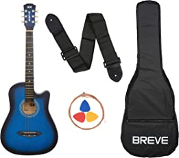 Breve BRE-38C-BL Acoustic Guitar with Bag (Blue)