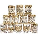 12 piezas Rollo de cinta de artesanía de arpillera de Encaje Blanco natural (1M / pieza),Rollo de cinta de artesanía de yute