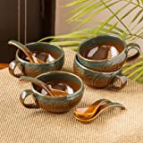 ExclusiveLane 'Amber & Teal' Studio Pottery Handled Ceramic Soup Bowls with Spoons & with Handle (Set of 8, 300 ML…