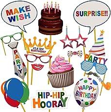 Party Propz Happy Birthday Photobooth (Set of 17) for Birthday Photobooth Props