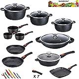 Kamberg - 0008162 - Set Lot Batterie de cuisine 27 pièces - Fonte d'aluminium - Revêtement pierre - Tous feux dont induction