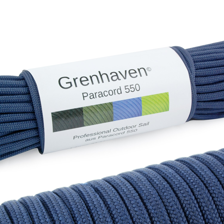 Grenhaven – 31 Metros m Soporta 250 Kilogramo kg 550 lbs Cuerda de Paracaídas – Para Kit de Supervivencia – 7 Resistentes Hebras – Apta Para Escalar – Parachute Cord – Paracord La Cuerda – Azul