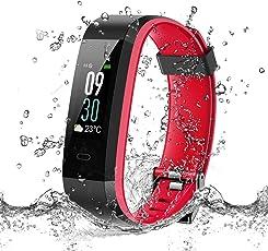 Fitness Tracker, Orologio Fitness Schermo a Colori Cardiofrequenzimetro da Polso, 14 Modalità Sport, Contapassi, Monitor Sonno / Previsioni Meteo / SMS / Messaggi per Facebook WhatsApp Twitter,Impermeabile IP68 Nuoto Uomo Donna per iOS Android