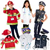 طقم تنكري فاخر من 16 قطعة من بورن تويز للأطفال من سن 3-7 رجال إطفاء، زي الشرطة، والطبيب، جميع المجموعات قابلة للغسل وتحتوي عل