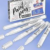Stylos de peinture blanche pour la peinture de roche, pierre, céramique, verre, bois. Ensemble de 5 marqueurs de peinture acr