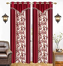 Galaxy Home Decor Eyelet Polyester Curtains for Door 7 Feet, Maroon, Set of 2