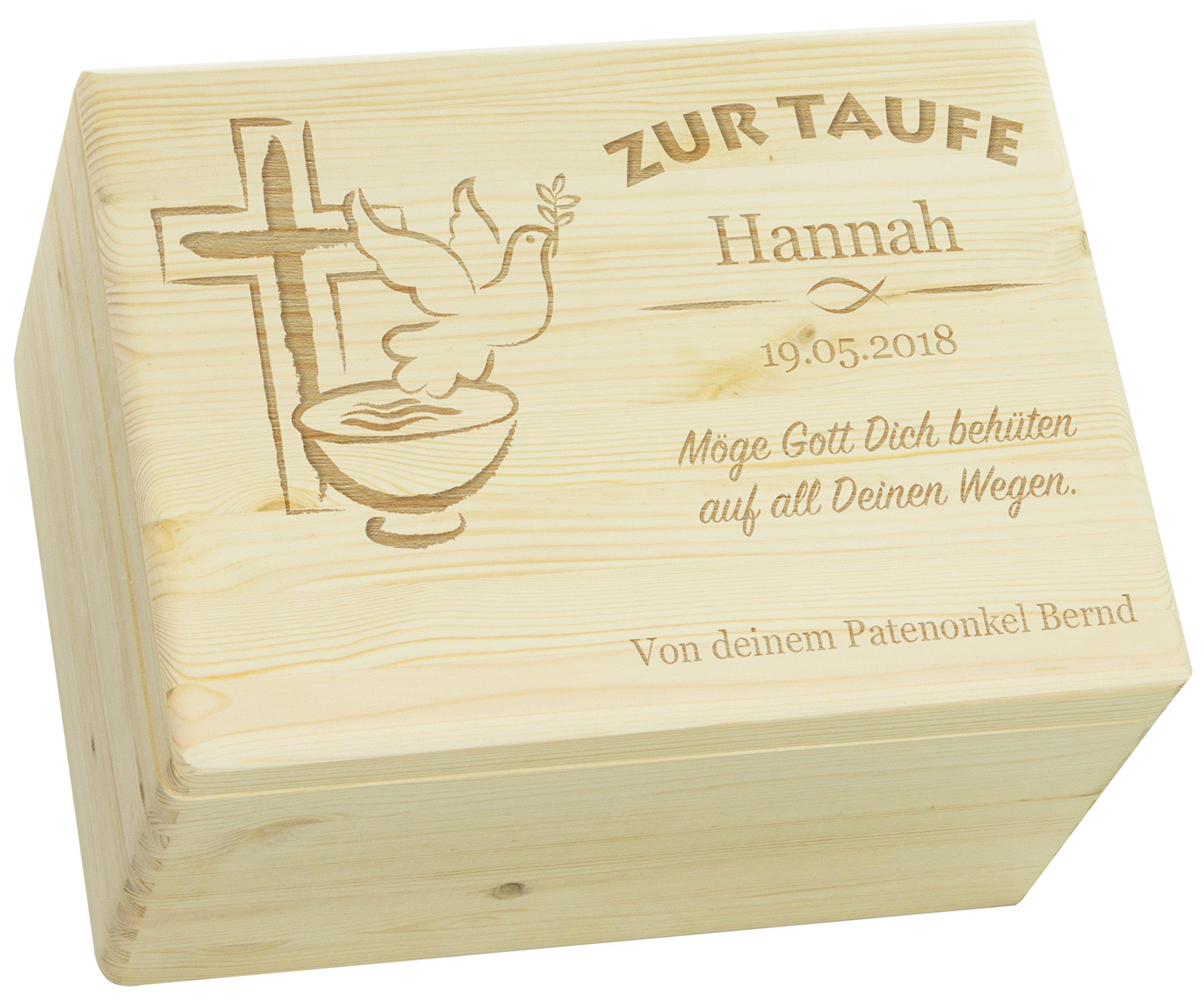LAUBLUST Holzkiste mit Gravur - Personalisiert mit Name | Datum | WIDMUNG - Natur Größe XL - Friedenstaube Motiv - Geschenkkiste zur Taufe