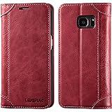 Lensun Handyhülle Kompatibel mit Handytasche Samsung Galaxy S7 Wein Rot