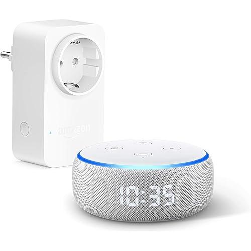 Echo Dot (3ª generazione) - Altoparlante intelligente con orologio e Alexa +Amazon Smart Plug (presa intelligente con connettività Wi-Fi), compatibile con Alexa