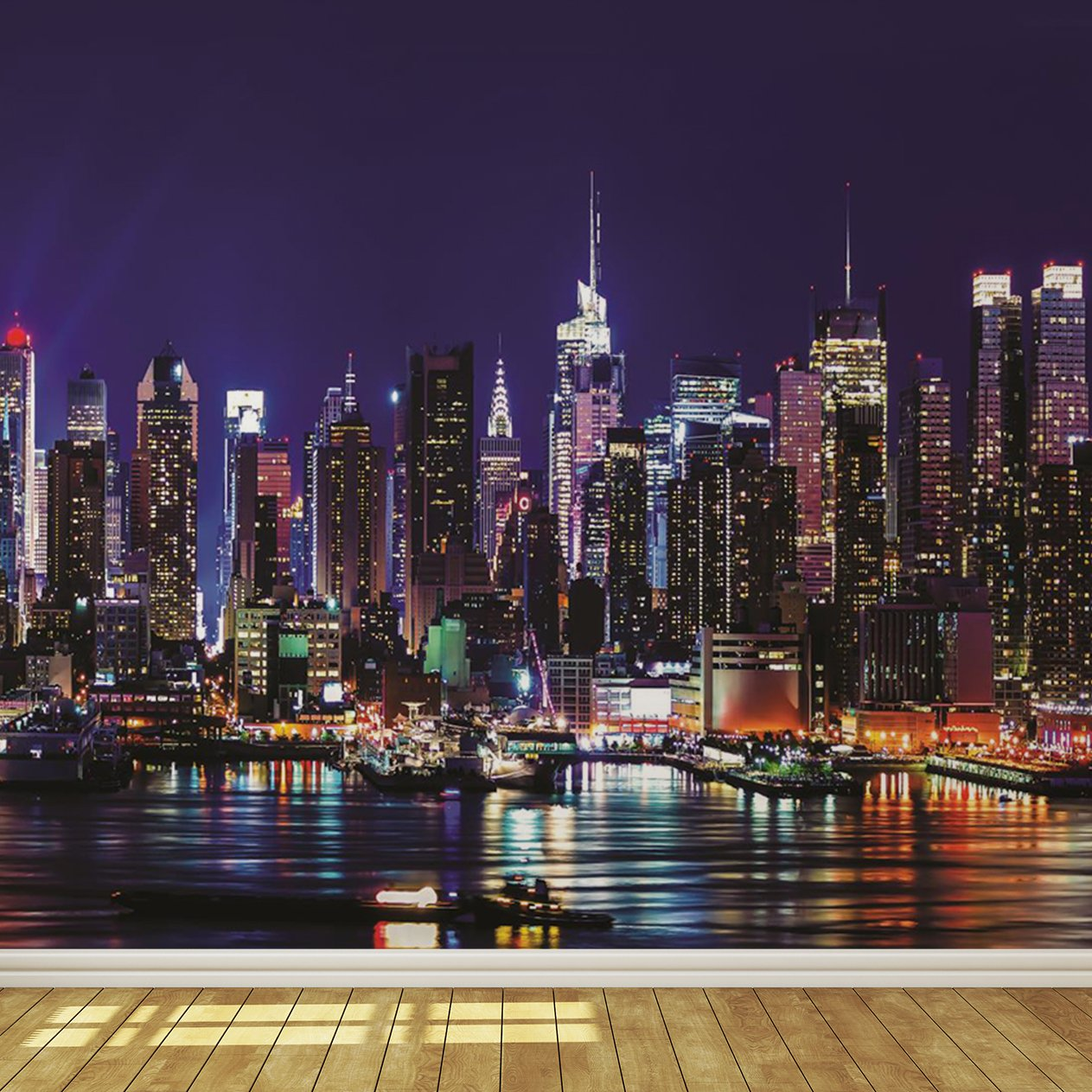 New York City Skyline At Night 7 Wallpaper Mural: Amazon.co.uk: DIY U0026 Tools