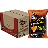 Doritos Tortilla Chips Flamin Hot Nacho Cheese, Doos 9 stuks x 170 g