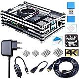 Bruphny Caja Kit para Raspberry Pi 4 con Ventilador, 5V 3A USB-C Cargador, 4 x Disipador, 1.8M Micro-HDMI Cable, USB Lector d