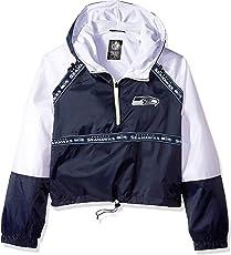 Icer Brands NFL Seattle Seahawks Women's Quarter Zip Hoodie Windbreaker Play Action Jacket, Medium, Navy