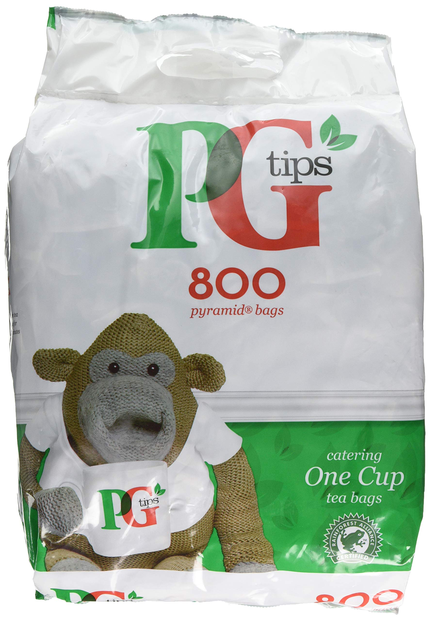 PG Tips one cup tea (rainforest alliance) (black tea) (800 bags) (brews in 1-3 minutes)