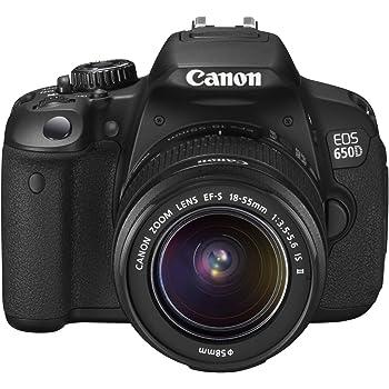 Canon EOS 650D SLR Digitalkamera (18 Megapixel, 7,6 cm (3 Zoll) Touch-Display, Full HD) Kit inkl. EF-S 18-55 IS II Objektiv schwarz