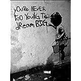 Canvas It Up Impression sur toile Motif graffiti de Banksy 40 x 30 cm