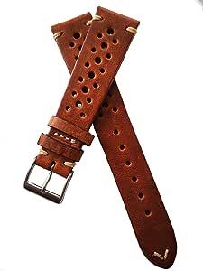 Fluco Hunter Racing Rally - Cinturino per orologio da uomo, in pelle, 20 mm, colore: Marrone chiaro