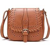 Forestfish Damen PU Leder Vintage Hohl Tasche Crossbody Bag Schultertasche