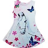 Vestido de verano para niña con tirantes, túnica, talla 116-146 cm, diseño de oso de peluche, unicornio, caballo