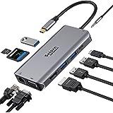 USB C Hub, Adaptador Tipo C Hub con 4K HDMI, VGA, Ethernet RJ45, Puertos USB 3.0, PD 100W, Audio de 3.5 mm, Hub Lector de Tar