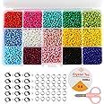 Naler Rocailles, 7500 stuks, rond, 15 kleuren, kralen om te knutselen, 3 mm