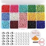 Naler 7500 Cuentas de Colores 3mm Mini Cuentas y Abalorios Cristal para DIY Pulseras Collares Bisutería (15 Colores)