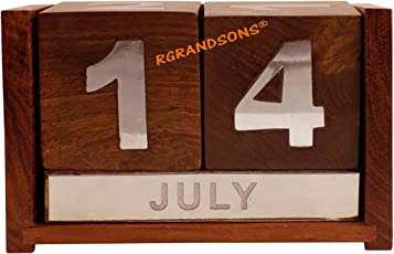 RGRANDSONS® Wooden Date Calendar for Office Desk Decoration Never Ending Wooden Desk Organizer (Office Table Accessories)