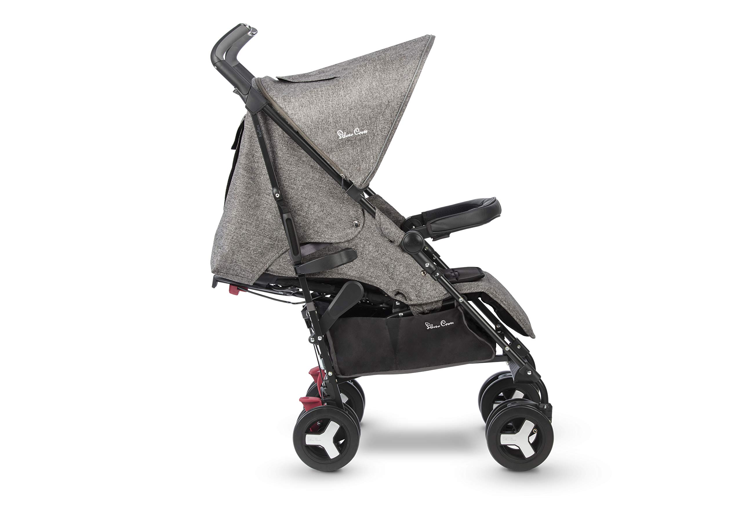 Silver Cross Reflex Brompton Silver Cross Reflex is an advanced stroller, suitable from birth up to 25kg, with a wealth of features 5-point harness Reflex comes with an exclusive matching new-born head hugger, meaning your baby is super cosy when the pushchair is in lie flat mode 2