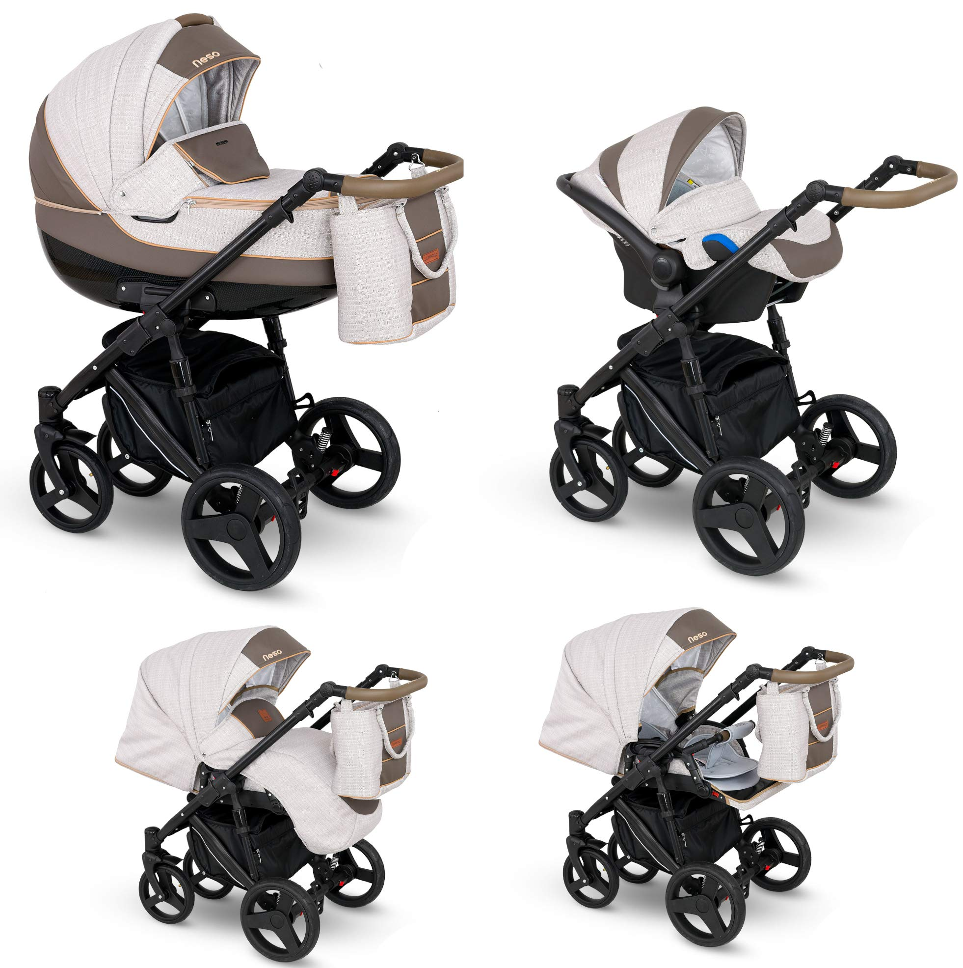 Lux4Kids Stroller Pram 2in1 3in1 Isofix Car seat 12 Colours Free Accessories NEO Brown Sand NE-6 4in1 car seat +Isofix Lux4Kids Lux4Kids Leo 3in1 or 2in1 pushchair. You have the choice whether you need a car seat (baby seat certified according to ECE R 44/04 or not). Of course the car is robust, safe and durable Certificate EN 1888:2004, you can also choose our Zoe with Isofix. The baby bath has not only ventilation windows for the summer but also a weather footmuff and a lockable rocker function. The push handle adapts to your size and not vice versa, the entire frame is made of a special aluminium alloy with a patented folding mechanism. 1