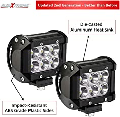 AllExtreme 6 LED Fog Light for Cars,Off Road Vehicle, Truck, 4WD, SUV, ATV - SMD CREE Headlight (10-30V, 18W, Pack of 2)